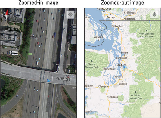 Zoomed-in and zoomed-out maps on Google Maps.