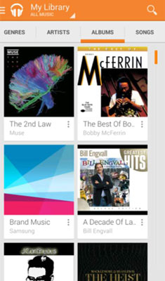 The Music Library in a Samsung Galaxy S 5.