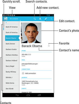 contacts app for android tablet