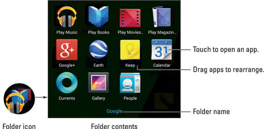 How to folder apps on android