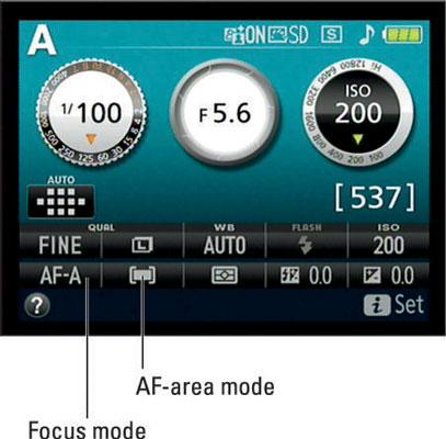 The Focus mode and AF-area mode settings appear here.