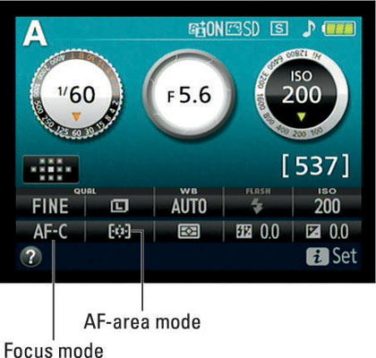 For moving subjects, the AF-C and Dynamic Area settings work best for the Focus mode and AF-area mo