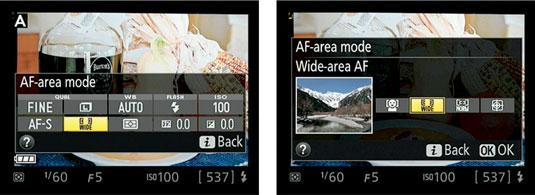 Access the AF-area mode via the control strip.