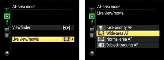 Select Live View/Movie (left) and press the Multi Selector right to uncover the Live View AF-area m