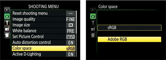 Select the color space through this Shooting menu option.