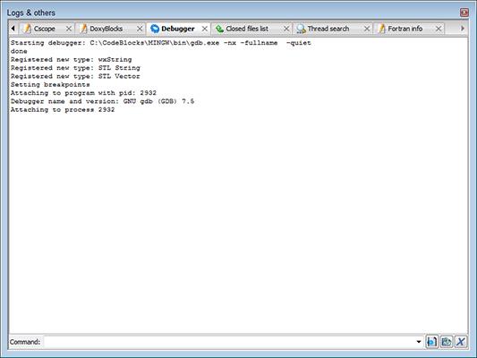 The debugger window in Code Blocks.