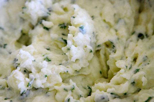 Close-up of poblano mashed potatoes.