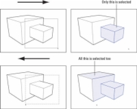 Demonstration of how to select several things in a SketchUp model by dragging a box around them.