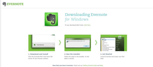 The Evernote home page.
