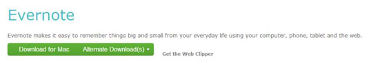 The Evernote Mac download page.