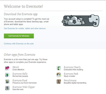 Evernote page on Firefox.