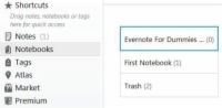All of the notebooks available in the notebooks tab of Evernote.