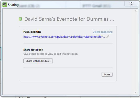 Evernote sharing screen.