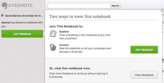 Click Join Notebook to see shared notebooks.