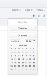 Users can set up reminders using the calendar that appears after clicking on the clock.