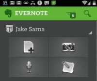 Evernote's home screen on an Android device.
