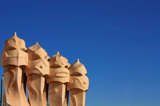 [Credit: cw istockphoto.com/Chimneys on Casa Mila by Architect Antoni Gaudí]