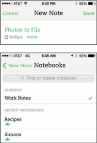 Creating a new note in the Evernote app.