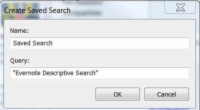 The Create Saved Search dialog box in Evernote.