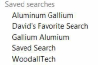 A list of saved searches in Evernote.