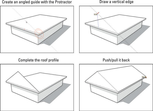How to construct gabled roofs in sketchup dummies for Box gable roof