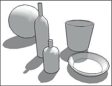 An illustration of some of the figures you can create on Google SketchUp: a sphere, a bottle, a glass and a plate.