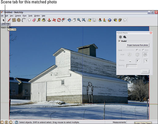 Checking that a SketchUp model and the photo it is based on match.