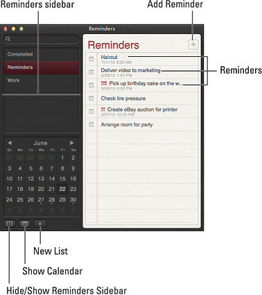 The Reminders window in action.