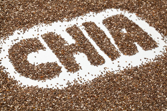 The word chia spelled using chia seeds.