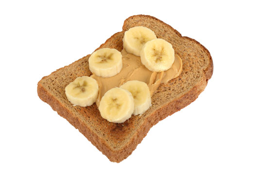 A peanut butter and banana toast.