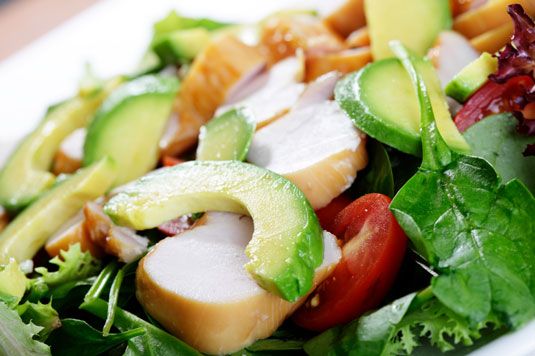 A chia, chicken, and avocado salad