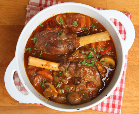 braised lamb shanks with cannellini beans.