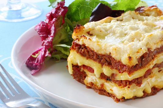 Lasagne with a salad on the side.