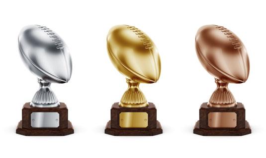 Fantasy football playoff trophies await league winners. [Credit: ©iStockphoto.com/zentilia]