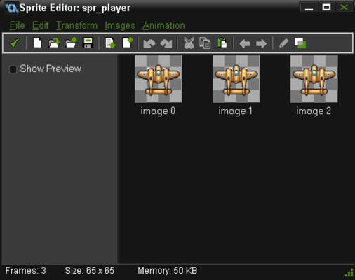 The Sprite Editor showing sub-images.