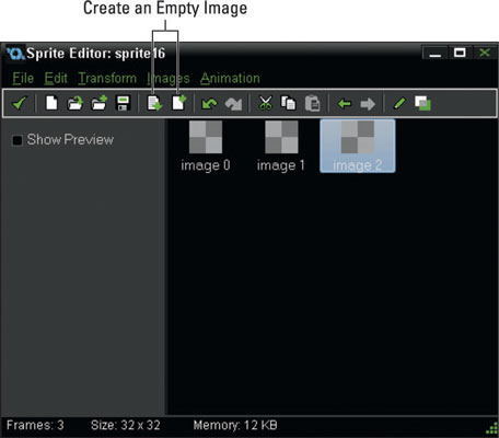 The Sprite Editor with three sub-images.