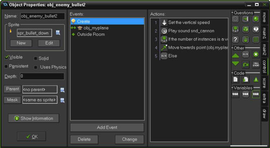 Use the Create Event to cause Actions to happen when the Object appears in the Room.