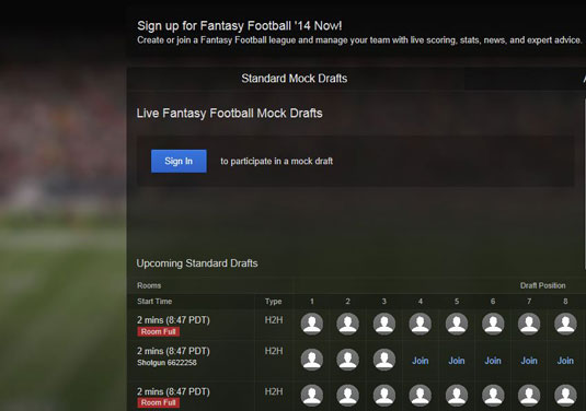 6 Sites For Taking Part In A Fantasy Football Mock Draft Dummies