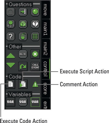 Code Actions from the Control tab.