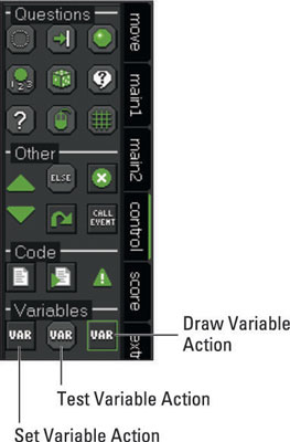 Variables Actions from the Control tab.