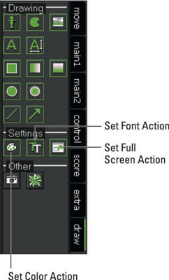 Settings Actions from the Draw tab.