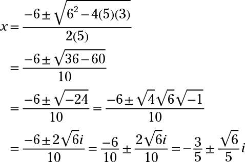 write a quadratic equation with imaginary numbers practice