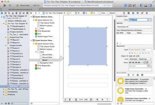 Creating the game session view for an iOS app in development.