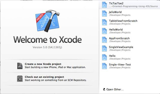 The Xcode welcome screen.