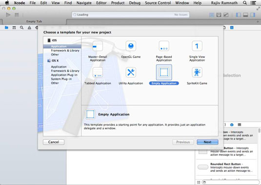 The New Project screen in Xcode.