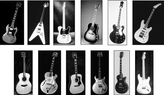 [Credit: Photographs courtesy of Charvel Guitars, Epiphone Guitar Corp., Fender Musical Instruments
