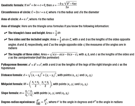 Frequently Used Pre-Calculus Formulas - dummies