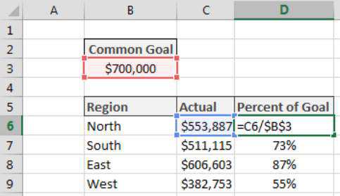 Calculating Percent of Goal in Excel - dummies