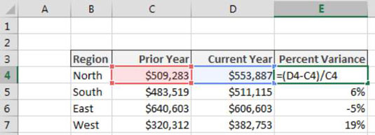 calculating percent variance in excel dummies