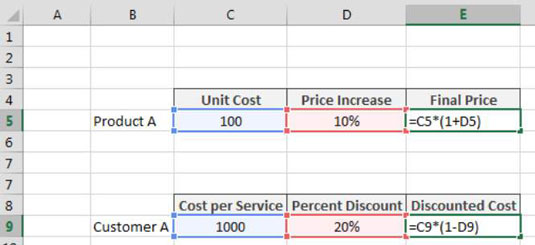 Applying a Percent Increase or Decrease to Values in Excel